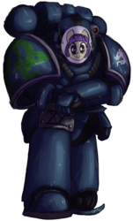 Size: 648x1072 | Tagged: adeptus astartes, alpha legion, armor, artist:t72b, background pony, derpibooru exclusive, disguise, female, human, human male, kneeling, male, mare, mask, oc, paper thin disguise, pony, power armor, safe, solo, space marine, warhammer 30k, warhammer 40k, warhammer (game)