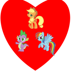 Size: 1000x1000 | Tagged: applejack, applespike, applespikedash, bisexual, default design, female, lesbian, love, love triangle, male, polyamory, rainbow dash, rainbowspike, safe, shipping, spike, straight