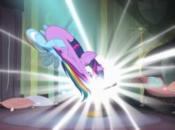 Size: 1454x1080 | Tagged: safe, screencap, rainbow dash, twilight sparkle, alicorn, pegasus, pony, power ponies (episode), cropped, female, mare, nose in the air, twilight sparkle (alicorn)