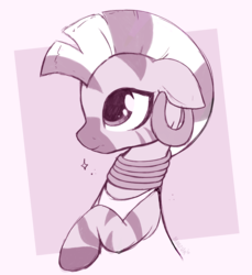 Size: 1964x2148 | Tagged: abstract background, artist:moozua, bust, clothes, cute, ear piercing, earring, edit, floppy ears, jewelry, monochrome, neck rings, piercing, pony, quadrupedal, safe, solo, zebra, zecora, zecorable