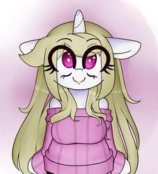 Size: 2000x2200 | Tagged: artist:fullmetalpikmin, clothes, eye clipping through hair, lipstick, oc, oc:cherry blossom, safe, semi-anthro, smiling, standing on hindlegs, sweater, unicorn