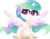 Size: 4000x3125 | Tagged: safe, artist:orin331, princess celestia, alicorn, pony, my little pony: pony life, absurd resolution, cute, cutelestia, digital art, female, jewelry, mare, missing accessory, regalia, simple background, smiling, solo, transparent background