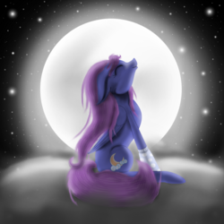 Size: 800x800 | Tagged: artist:auroraswirls, cloud, eyes closed, female, full moon, looking up, mare, moon, night, oc, oc:honeymoon, oc only, on a cloud, pegasus, pony, safe, solo, stars