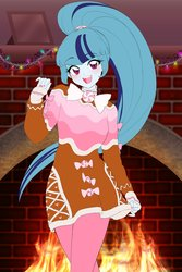 Size: 1360x2040   Tagged: safe, artist:rileyav, sonata dusk, equestria girls, blushing, bow, bowtie, candy, christmas, christmas lights, cute, disguise, disguised siren, female, fireplace, food, gingerbread (food), gingerbread man, holiday, looking at you, nail polish, open mouth, solo, sonatabetes