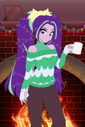 Size: 1360x2040   Tagged: safe, artist:rileyav, aria blaze, equestria girls, ariabetes, christmas, christmas lights, clothes, coffee mug, cute, disguise, disguised siren, female, fire, fireplace, holiday, looking at you, mug, nail polish, shoulderless, solo, sweater, turtleneck