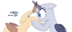 Size: 3704x1680 | Tagged: safe, artist:doraair, oc, oc only, alicorn, pony, alicorn oc, base, cheek squish, duo, looking at each other, simple background, squishy cheeks, transparent background