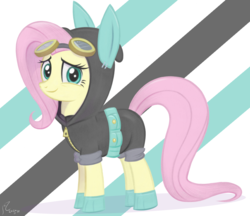 Size: 5249x4537 | Tagged: absurd resolution, artist:flutterstormreturns, bunny ears, clothes, costume, cute, dangerous mission outfit, female, fluttershy, goggles, hoodie, mare, pony, safe, shyabetes, solo