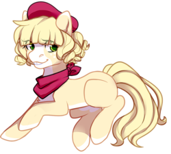 Size: 987x889 | Tagged: artist:pomrawr, beret, earth pony, eye clipping through hair, hat, neckerchief, oc, oc only, pony, safe, simple background, smiling, solo, transparent background