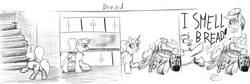 Size: 1541x518 | Tagged: safe, artist:khaki-cap, oc, oc:khaki-cap, bread, bread pile, comic, earth pony oc, food, sketch, sketch comic, unicorn oc