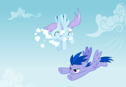 Size: 6500x4500   Tagged: safe, artist:northernthestar, oc, oc only, oc:turbo, oc:turbulence high, pegasus, pony, absurd resolution, cloud, female, flying, male, mare, offspring, parent:flitter, parent:oc:northern star, parents:canon x oc, stallion