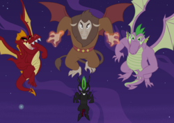 Size: 1057x746 | Tagged: safe, artist:queencold, garble, pharynx, scorpan, spike, changeling, dragon, gargoyle, alternate universe, commission, fire, flying, glowing horn, horn, magic, magic aura, male, night, older, older garble, older spike, winged spike