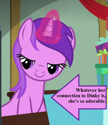 Size: 513x594 | Tagged: amethyst star, arrow, awwmethyst star, best gift ever, captain obvious, cropped, edit, edited screencap, hearth's warming eve, implied dinky, magic, magic aura, present, safe, screencap, sparkler, text