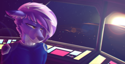 Size: 1920x987 | Tagged: safe, artist:whisperfoot, oc, oc:berry frost, anthro, deer, earth pony, bridge, captain, clothes, cockpit, control panel, deerified, ear fluff, ear freckles, freckles, hexagon, in space, lens flare, lidded eyes, looking away, looking left, male, multicolored fur, multicolored hair, planet, solo, space, spaceship, stars, sun, uniform, wallpaper