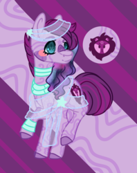 Size: 1052x1328 | Tagged: safe, artist:grateful-dead-raised, earth pony, hybrid, pony, zebra, zony, crack shipping, female, interspecies offspring, magical lesbian spawn, offspring, parent:twilight sparkle, parent:zecora, parents:twicora, solo