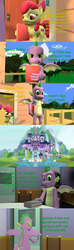 Size: 1920x6480   Tagged: safe, artist:papadragon69, apple bloom, spike, dragon, earth pony, pony, comic:spike's cyosa, 3d, book, choose your own adventure, clubhouse, comic, crusaders clubhouse, double subversion, female, filly, male, older, older spike, school of friendship, source filmmaker, teenage spike, teenager, winged spike