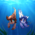 Size: 2000x2000   Tagged: safe, artist:sonigiraldo, oc, oc only, earth pony, pony, sea pony, commission, duo, female, high res, mare, racing, swimming, underwater, water