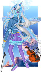 Size: 1189x2106 | Tagged: alicorn, artist:starwantrix, clothes, equestria girls, fanfic:it takes a while, horn, horned humanization, human, humanized, musical instrument, notes, princess, safe, shoes, signature, sky, sneakers, socks, thigh highs, trixie, violin, wings