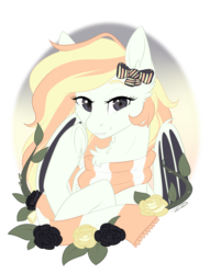 Size: 1256x1647   Tagged: safe, artist:doekitty, oc, oc:creme puff, bat pony, pony, bust, clothes, female, mare, portrait, scarf, solo
