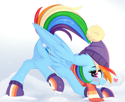 Size: 1446x1175 | Tagged: safe, artist:omi, rainbow dash, pegasus, pony, best gift ever, beanie, blushing, boots, clothes, cute, dashabetes, face down ass up, female, hat, heart, iwtcird, looking at you, mare, meme, profile, raised tail, scarf, shoes, snow, solo, tail, winter, winter outfit