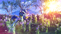 Size: 3840x2160   Tagged: safe, artist:etherium-apex, oc, oc:lily pond, pony, unicorn, 3d, blender, female, flower, mare, solo, sun