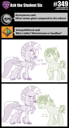 Size: 800x1483 | Tagged: safe, artist:sintakhra, sandbar, silverstream, classical hippogriff, hippogriff, pony, tumblr:studentsix, height difference, jewelry, just kiss already, necklace, sandbar is not amused, unamused