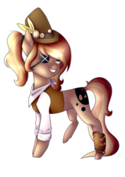 Size: 752x1063 | Tagged: safe, artist:serinabeauty, oc, oc only, oc:debonair, earth pony, pony, bandana, boot, clothes, eyepatch, feather, female, hat, mare, ponytail, raised leg, shirt, simple background, solo, top hat, transparent background, vest