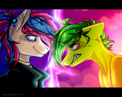 Size: 3508x2786 | Tagged: safe, artist:goddamncat, oc, oc:evergreen feathersong, oc:oculus rift, pony, angry, clothes, confrontation, green, hoodie, jewelry, lightning, necklace, piercing, sassy