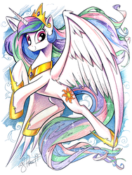 Size: 1800x2400 | Tagged: safe, artist:andypriceart, edit, princess celestia, alicorn, pony, idw, spoiler:comic, collar, colored pencil drawing, crown, enhanced traditional art, female, hoof shoes, jewelry, looking at you, mare, necklace, regalia, smiling, solo, tiara, traditional art