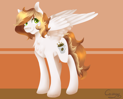 Size: 1280x1024 | Tagged: artist:sugarponypie, chest fluff, coffee, coffee mug, cutie mark, looking at you, mug, oc, oc only, pegasus, pony, request, safe, smiling, solo