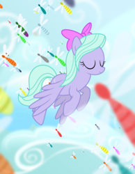 Size: 7000x9000 | Tagged: artist:csillaghullo, cloud, dragonfly, eyes closed, female, flitter, flying, insect, mare, pegasus, pony, safe, sky, solo, spread wings, wings