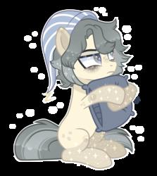 Size: 2389x2677 | Tagged: safe, artist:sugaryicecreammlp, oc, oc:hiroki, earth pony, pony, female, hat, mare, nightcap, pillow, simple background, solo, transparent background