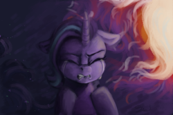 Size: 1280x853 | Tagged: artist:an-alpaca-named-bucket, crying, frustrated, pony, sad, safe, solo, starlight glimmer, unicorn, upset