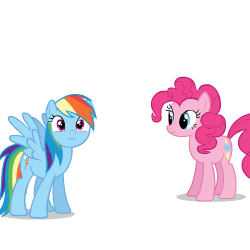 Size: 250x250 | Tagged: safe, artist:sasha-flyer, pinkie pie, rainbow dash, earth pony, pegasus, pony, derpibooru, testing testing 1-2-3, animated, animated png, apng for breezies, forced juxtaposition, juxtaposition, juxtaposition win, meme, meta, multi image animation, simple background, solo, transparent background, vector