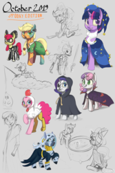 Size: 1280x1920 | Tagged: alicorn, animal costume, apple bloom, applejack, artist:silverhopexiii, bone, bow, broom, chicken pie, chicken suit, clothes, costume, cutie mark crusaders, derpy hooves, ear piercing, earring, female, filly, flying, flying broomstick, frankenstein's monster, gray background, hair bow, jewelry, looking at you, mare, necklace, nightmare night costume, pegasus, piercing, pinkie pie, pony, princess luna, rainbow dash, rarity, safe, scootaloo, simple background, skeleton, sketch, star swirl the bearded costume, sweetie belle, sword, twilight sparkle, unicorn, unicorn twilight, weapon, zebra, zecora