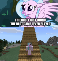 Size: 500x529 | Tagged: safe, edit, edited screencap, screencap, silverstream, cow, hippogriff, caption, cute, diastreamies, image macro, imgflip, meme, minecraft, stairs, text, that hippogriff sure does love stairs