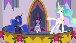 Size: 1920x1080 | Tagged: safe, screencap, princess celestia, princess luna, twilight sparkle, alicorn, pony, the last problem, alternate hairstyle, balcony, chestplate, crown, ethereal mane, ethereal tail, eyes closed, eyeshadow, female, flowing mane, flowing tail, folded wings, graceful, hoof shoes, jewelry, makeup, mare, multicolored mane, pointing, presenting, proud, regalia, retirement, royal sisters, second coronation dress, siblings, sisters, smiling, talking, trio, twilight sparkle (alicorn)
