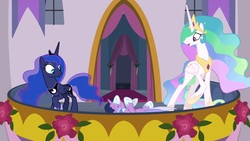 Size: 1920x1080 | Tagged: safe, screencap, princess celestia, princess luna, twilight sparkle, alicorn, pony, the last problem, balcony, canterlot castle, clothes, concerned, coronation dress, dress, ethereal mane, flowing mane, hoof shoes, how embarrassing, oops, raised hoof, retirement, royal sisters, shocked, trio, tripping, twilight sparkle (alicorn)