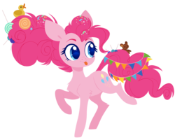 Size: 5000x4000 | Tagged: safe, artist:belka-sempai, pinkie pie, earth pony, pony, the last problem, spoiler:s09e26, candy, candy in hair, chest fluff, confetti, confetti in mane, cute, diapinkes, female, food, head turn, hooves, lineless, lollipop, looking away, looking sideways, mare, older, older pinkie pie, raised hoof, raised leg, rubber duck, simple background, solo, standing, teddy bear, three quarter view, tongue out, toy, transparent background