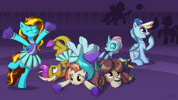 Size: 1920x1080 | Tagged: safe, artist:sirzi, lighthoof, ocellus, rainbow dash, shimmy shake, smolder, yona, oc, oc:ilovekimpossiblealot, changedling, changeling, dragon, pegasus, pony, yak, 2 4 6 greaaat, cheerleader, cheerleader ocellus, cheerleader outfit, cheerleader smolder, cheerleader yona, clothes, cloven hooves, coach rainbow dash, cute, diaocelles, dragoness, female, hat, lightorable, mare, pleated skirt, pom pom, shakeabetes, skirt, smolderbetes, whistle, yonadorable
