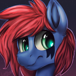Size: 1000x1000   Tagged: safe, artist:loopdalamb, oc, oc only, oc:cdr0m, pegasus, pony, band, blue, cd, challenge, colour palette, edge, edgy, emo, goth, heart, krita, painting, piercing, punk, r0m, red, rock, scene, scene kid, solo