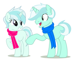 Size: 1940x1584 | Tagged: safe, artist:elementbases, artist:tortured-smile0w0, oc, oc only, oc:riski alpine, oc:slippery slope (ice1517), pony, unicorn, icey-verse, base used, blank flank, brother and sister, clothes, commission, female, grin, male, mare, offspring, open mouth, parent:double diamond, parent:lyra heartstrings, parents:lymond, raised hoof, scarf, siblings, simple background, smiling, stallion, transparent background, twins