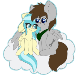 Size: 1000x1000 | Tagged: safe, artist:miss-jessiie, misty fly, oc, oc:fuselight, pegasus, pony, background removed, cloud, on a cloud, simple background, transparent background