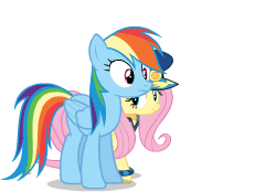 Size: 250x174 | Tagged: ancient wonderbolts uniform, animated, animated png, artist needed, artist:sasha-flyer, clothes, cute, duo, fluttershy, picture for breezies, rainbow dash, safe, simple background, testing testing 1-2-3, transparent background, uniform, vector