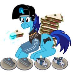 Size: 2000x2133   Tagged: safe, artist:dialliyon, artist:susanzx2000, oc, oc:dial liyon, unicorn, food, heavy weapons guy, sandwich, simple background, team fortress 2, transparent background