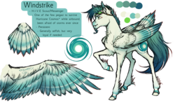 Size: 1867x1100 | Tagged: safe, artist:bootsdotexe, oc, oc only, oc:windstrike, pegasus, pony, colored wings, colored wingtips, cutie mark, facial hair, goatee, gogges, long description, male, raised hoof, realistic horse legs, reference sheet, simple background, solo, stallion, tail feathers, transparent background, unshorn fetlocks