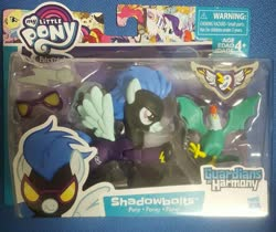 Size: 1825x1531 | Tagged: safe, rarity, cockatrice, pony, unicorn, clothes, costume, goggles, guardians of harmony, irl, photo, shadowbolts, shadowbolts costume, toy