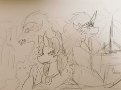 Size: 1024x760 | Tagged: safe, artist:omegapony16, king sombra, oc, oc:oriponi, pony, unicorn, bust, cloak, clothes, crystal heart, lineart, male, sharp teeth, sombra eyes, stallion, teeth, traditional art