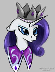 Size: 550x720 | Tagged: safe, artist:renarde-louve, princess platinum, rarity, pony, bust, crown, floppy ears, jewelry, regalia, serious, serious face, simple background, solo