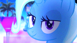 Size: 1920x1080 | Tagged: safe, artist:bastbrushie, trixie, pony, unicorn, bust, chromatic aberration, female, irl, lidded eyes, looking at you, mare, photo, ponies in real life, portrait, solo, synthwave, vaporwave, video