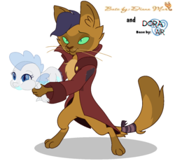 Size: 1254x1203 | Tagged: safe, artist:dianamur, artist:doraair, capper dapperpaws, oc, abyssinian, anthro, dragon, my little pony: the movie, base, behaving like a weapon, clothes, coat, collaboration, dragon oc, duo, male, simple background, transparent background